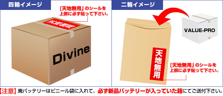 四輪イメージ:「天地無用」のシールを箱の上部に必ず貼ってください。 二輪イメージ:「天地無用」のシールを紙袋の上部に必ず貼ってください。